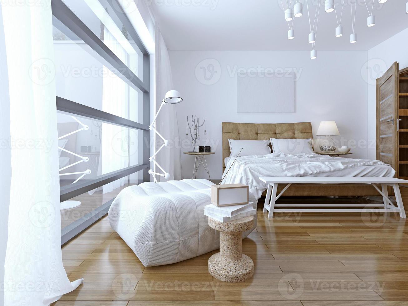 dormitorio con paredes blancas en estilo moderno foto