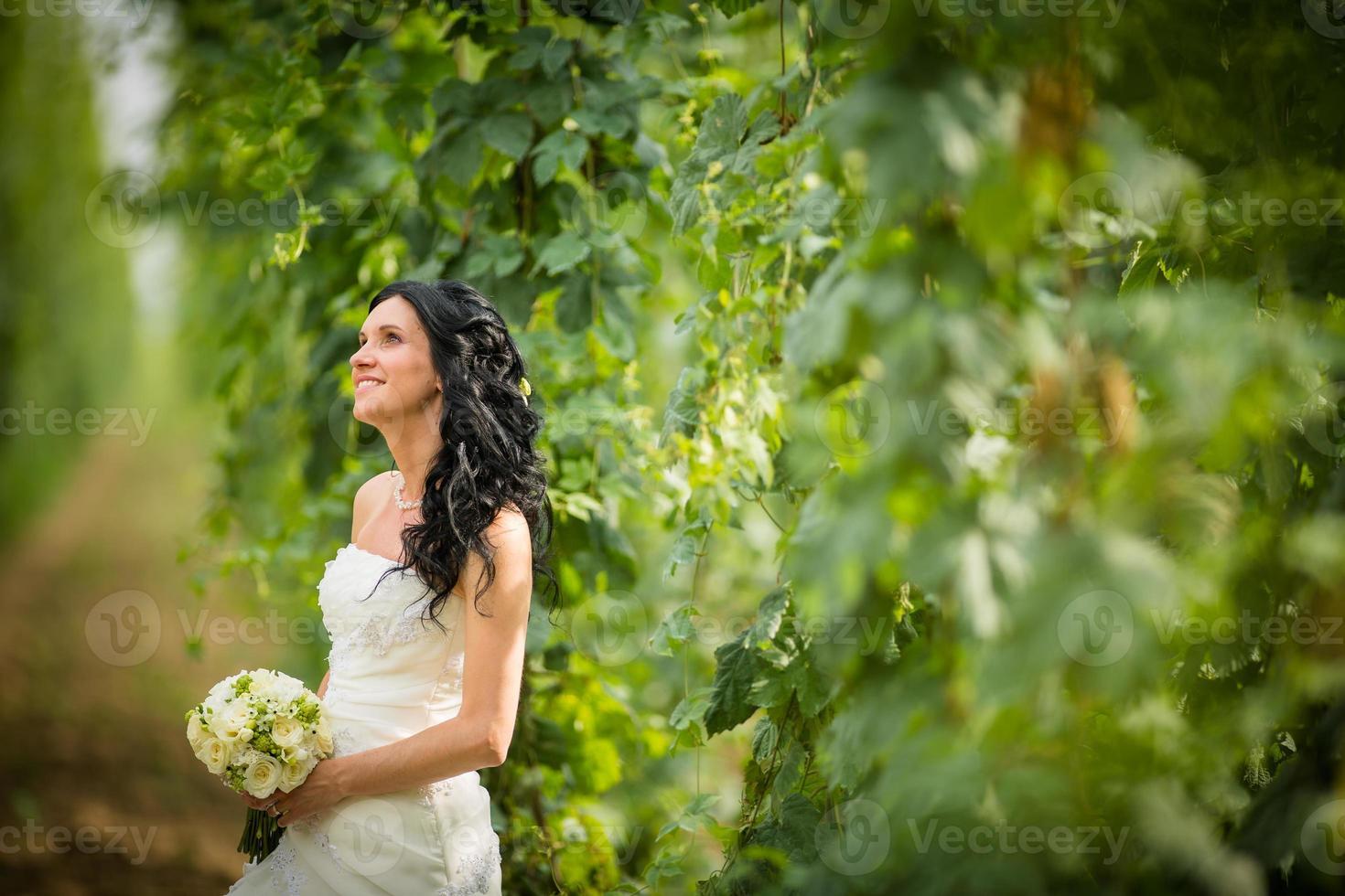 Gorgeous bride on her wedding day photo