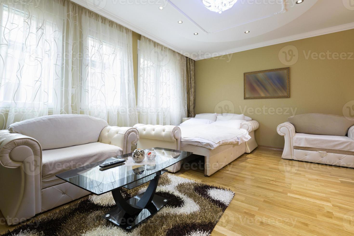 Interior of a spacious hotel apartment photo