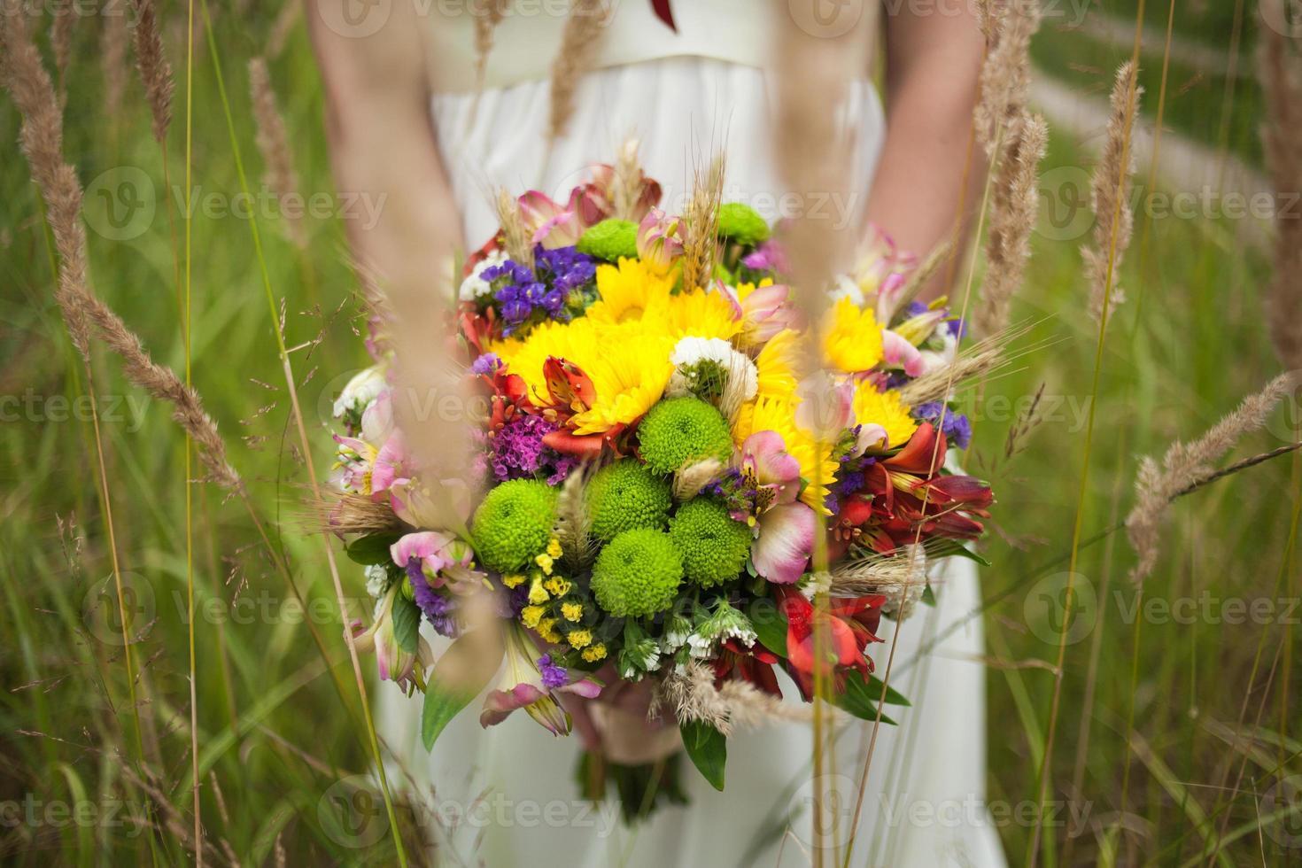 beautiful bride on the wedding day photo