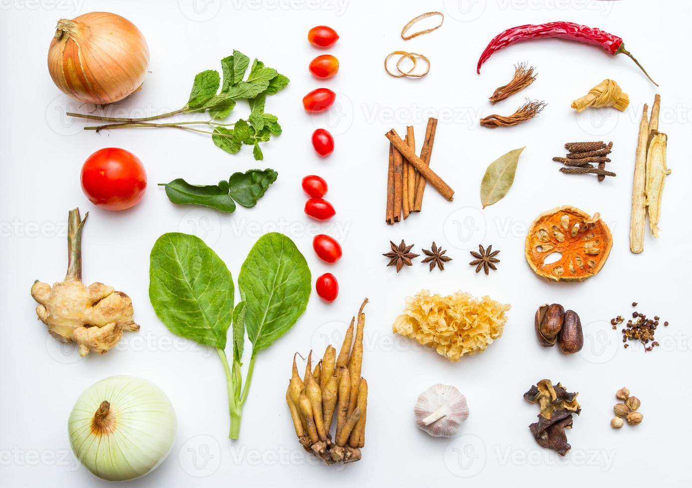Fresh vegetables and other healthy foods on white background. photo