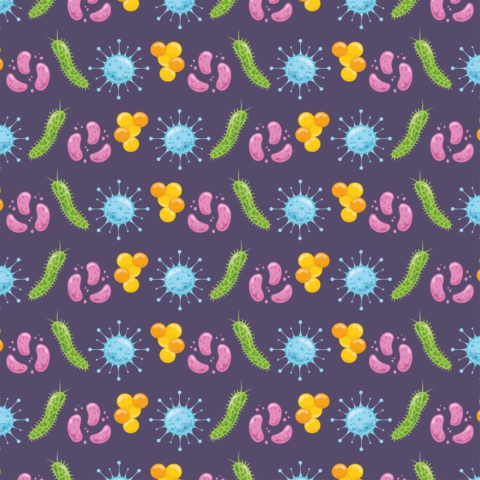 Fondo de patrón de coronavirus, bacterias y células vector