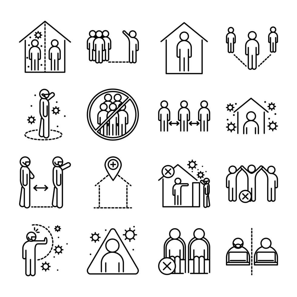 paquete de iconos de pictogramas de contorno de distancia social y coronavirus vector