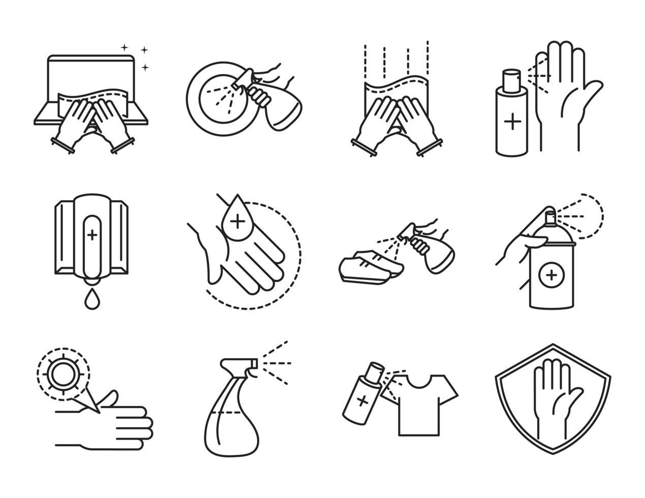 paquete de iconos de pictogramas de contorno de limpieza y desinfección vector