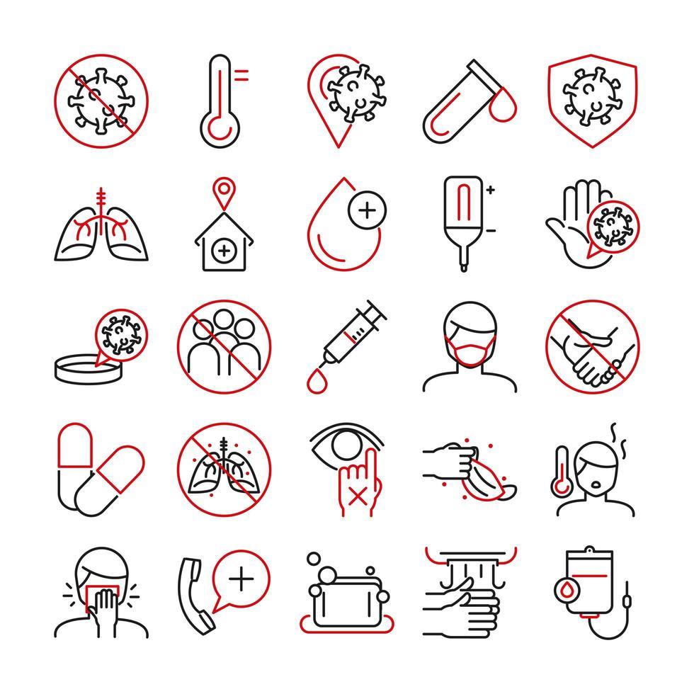 Conjunto de iconos de pictogramas bicolor de atención médica e infección viral vector
