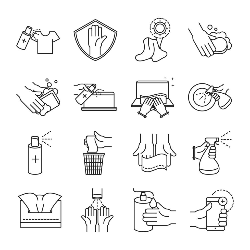 Cleaning and disinfection outline pictogram icon collection vector