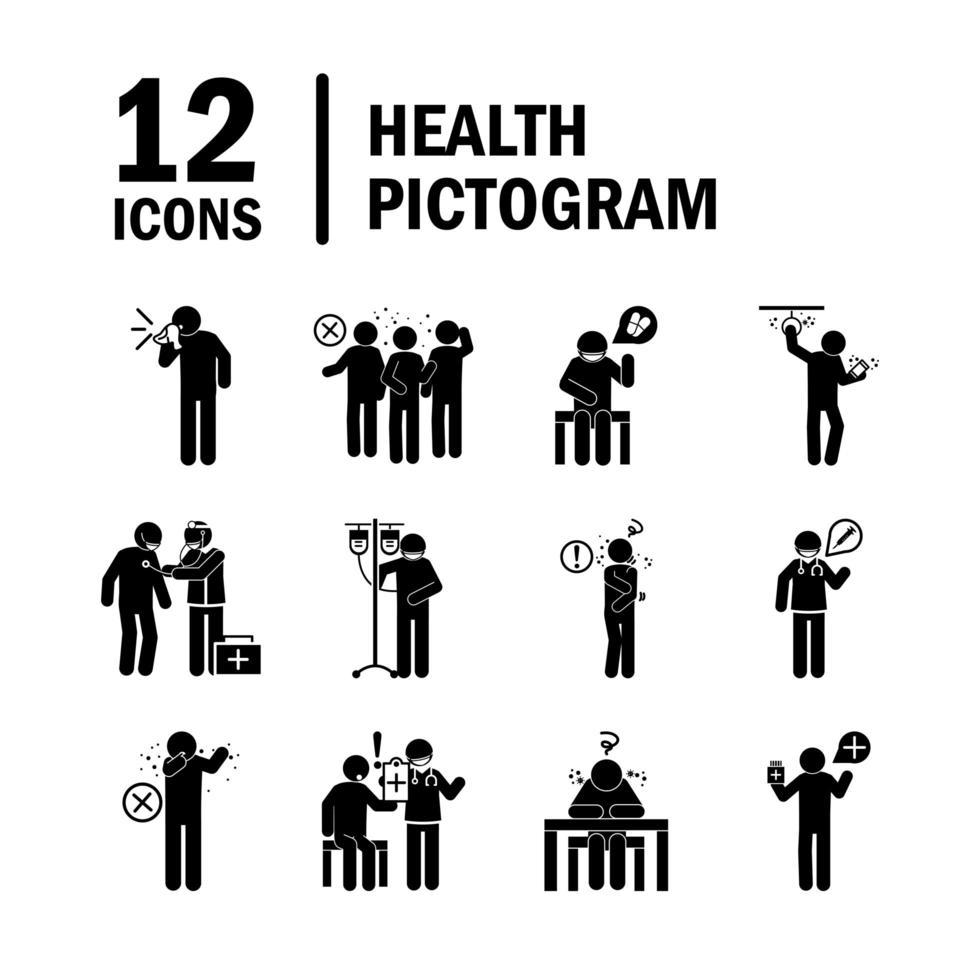 Pictograma de atención médica y colección de iconos médicos. vector