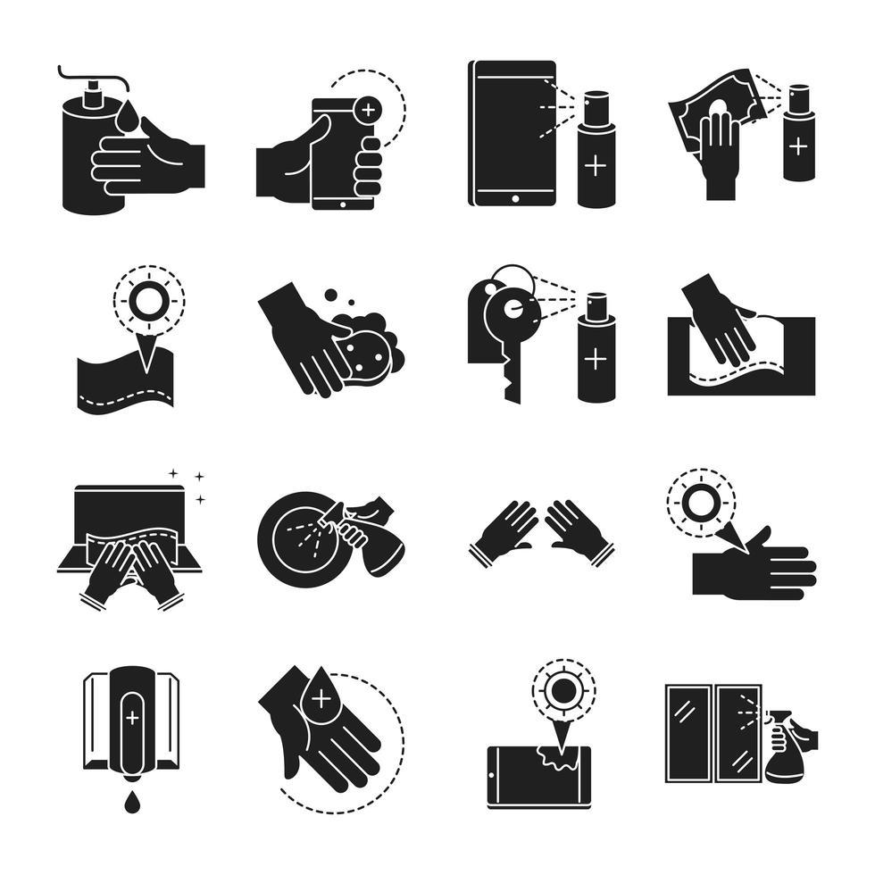 Surtido de iconos de pictogramas de silueta de limpieza y desinfección vector