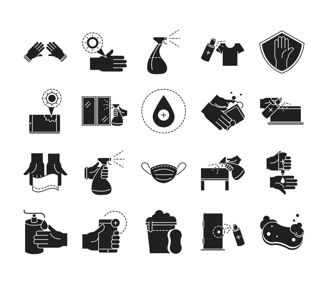 Cleaning and disinfection silhouette pictogram icon pack vector