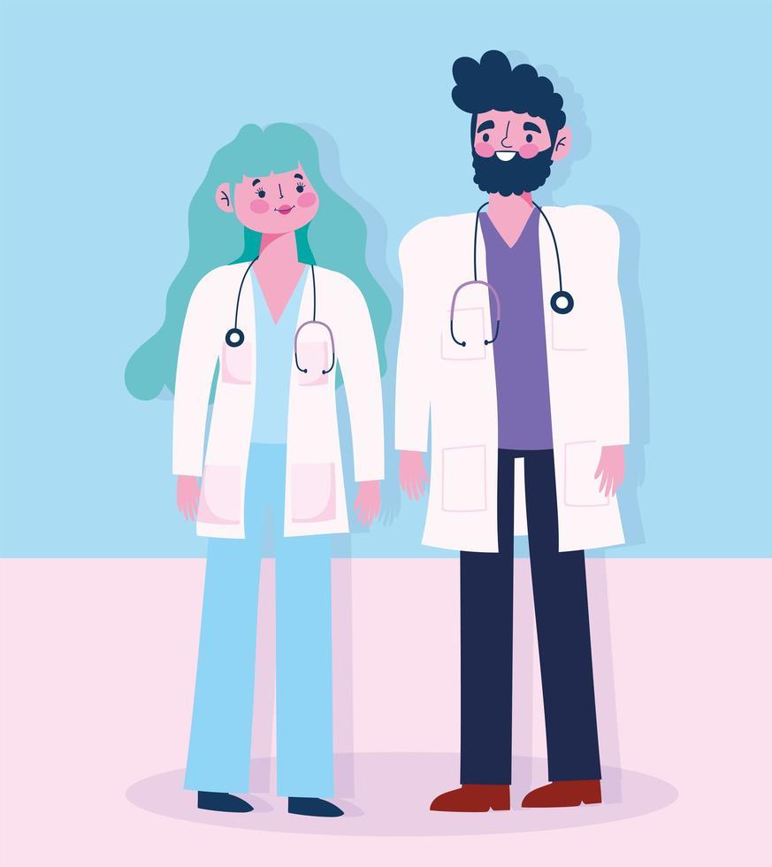 personajes médicos de pie uno al lado del otro vector