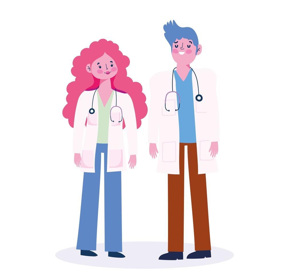 personajes médicos de pie y mirándose vector