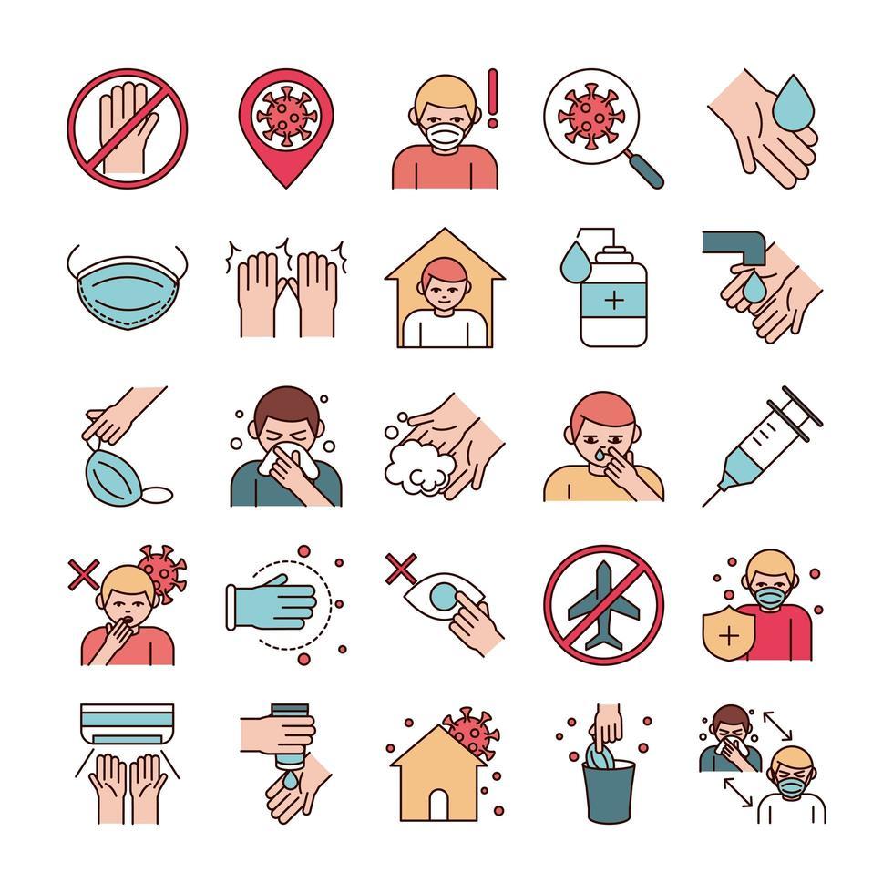 Línea de prevención de infecciones virales y paquete de iconos de pictogramas de relleno vector