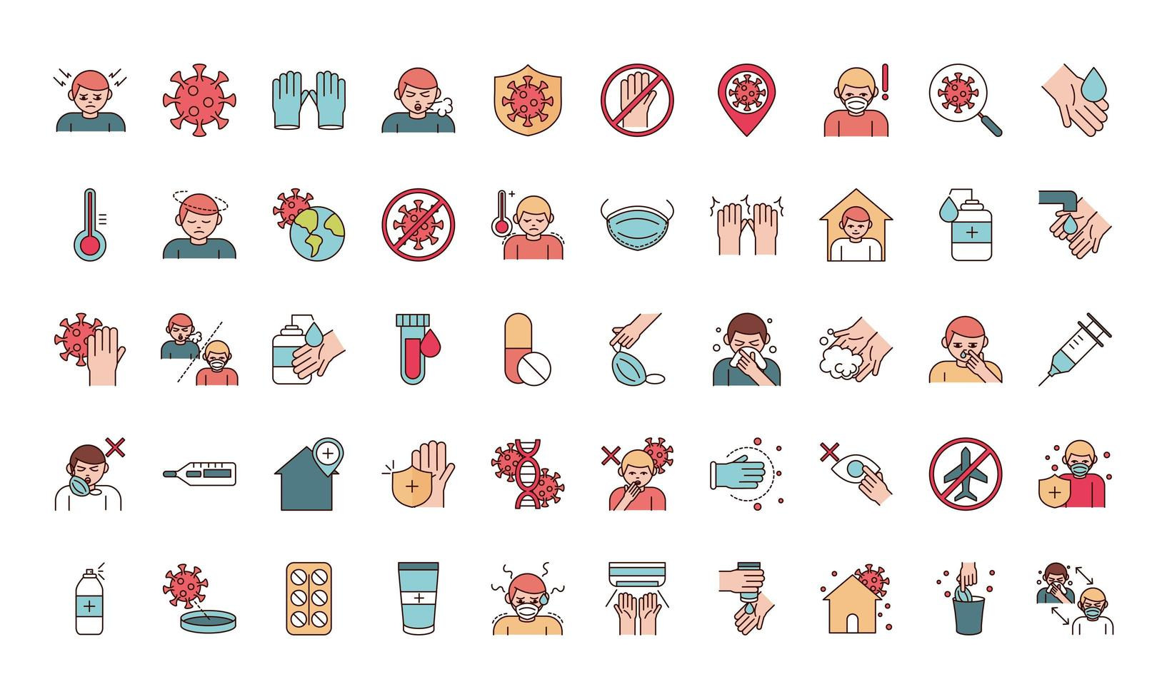 Viral infection prevention line and fill pictogram icon set vector