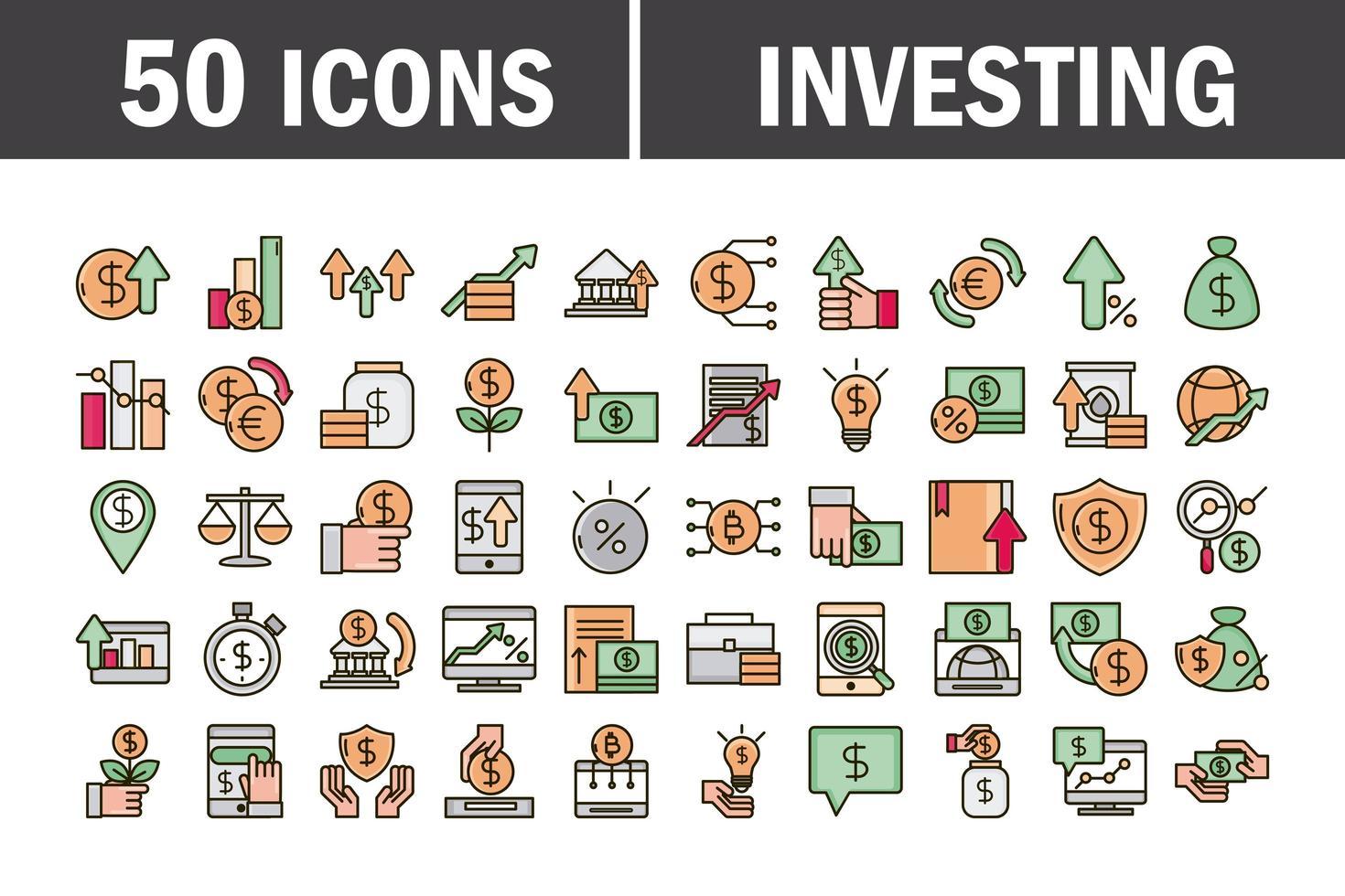 línea de negocio de economía e inversión y paquete de iconos de color de relleno vector