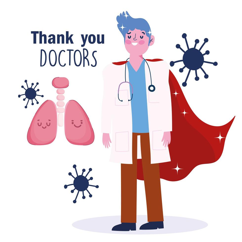 Doctor with a cape greeting card template vector