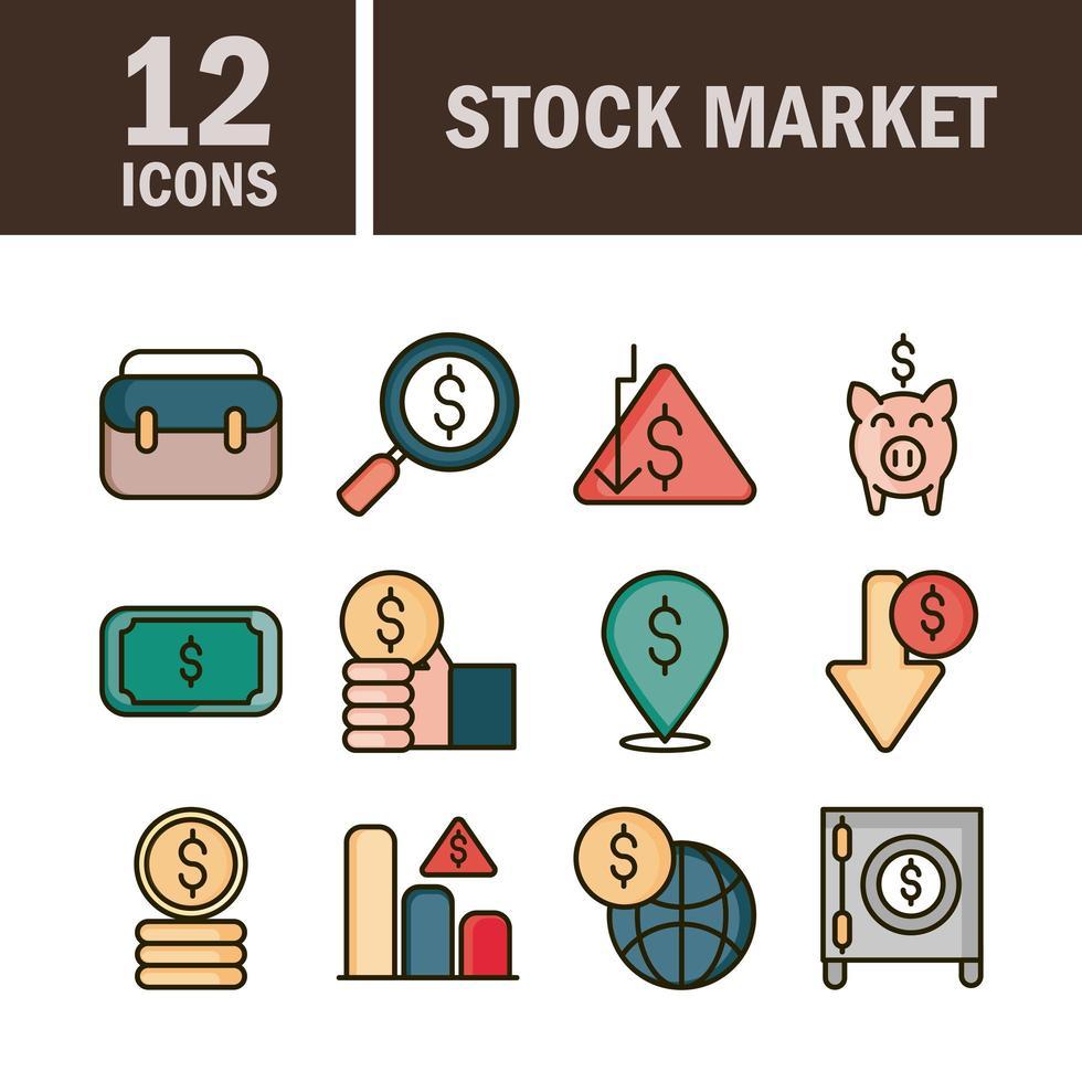 mercado de valores y línea financiera y paquete de iconos de color de relleno vector