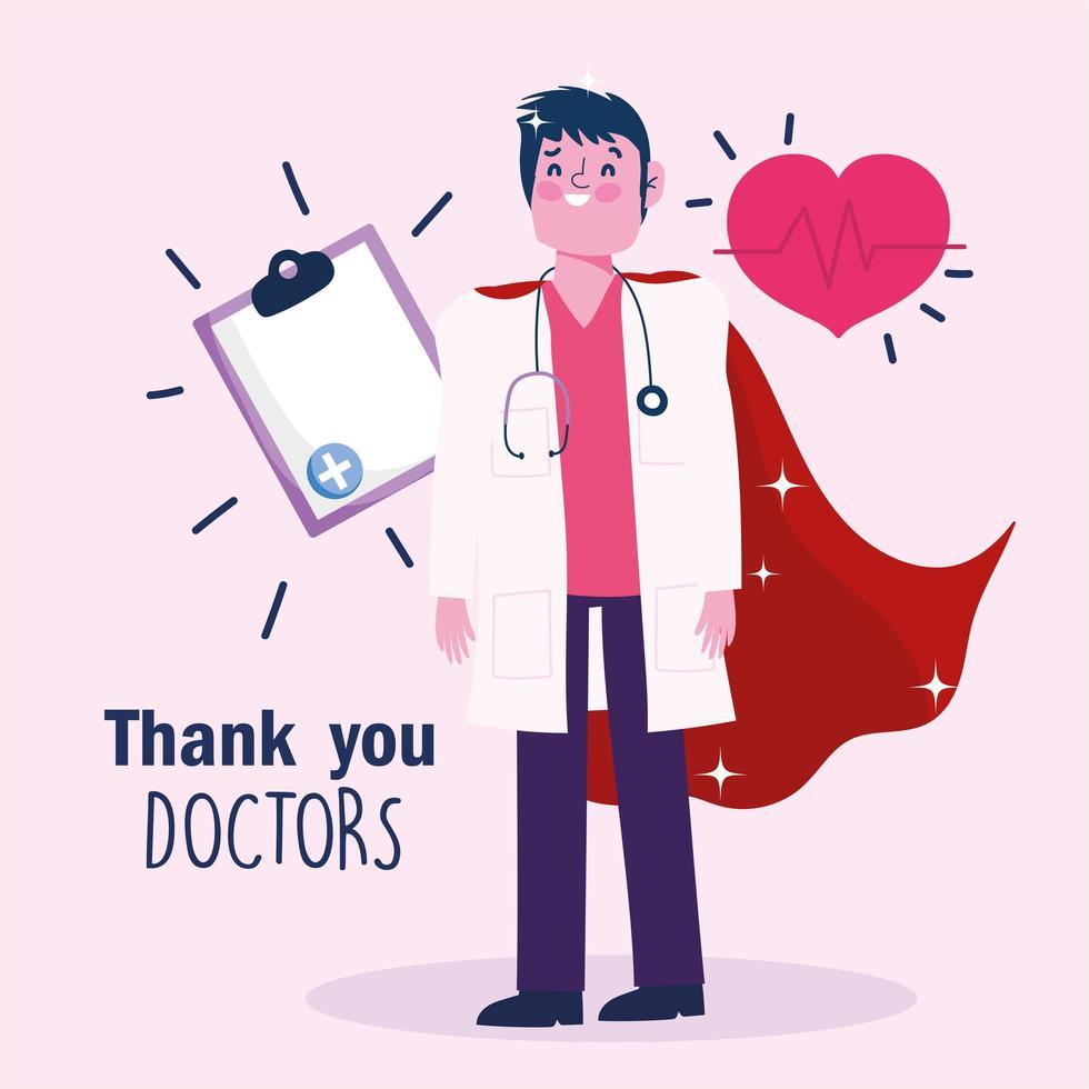 doctor como un héroe plantilla de tarjeta de felicitación vector