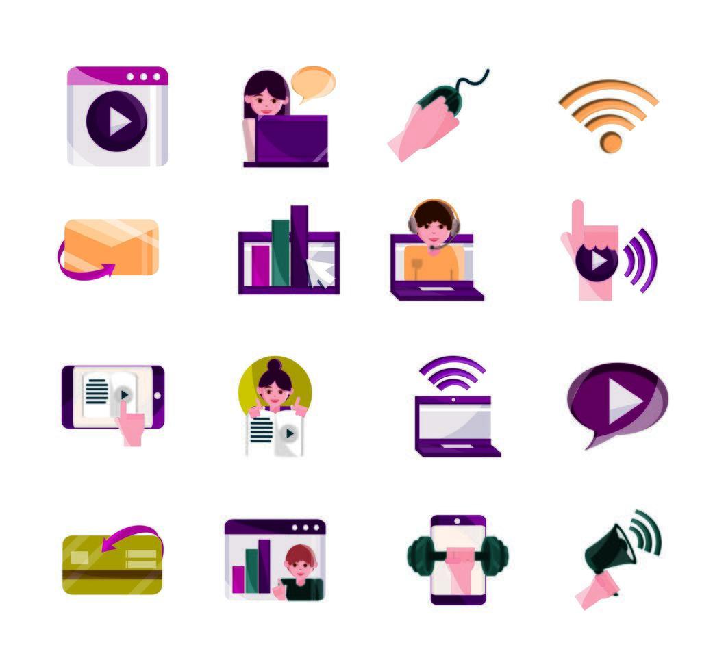 actividades en línea y colección de iconos de comunicación digital. vector