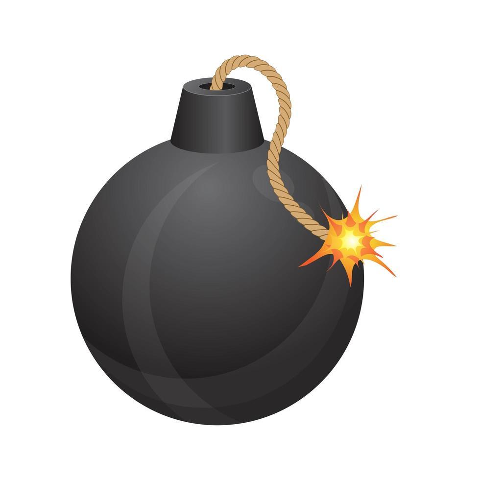 bomba con mecha encendida vector