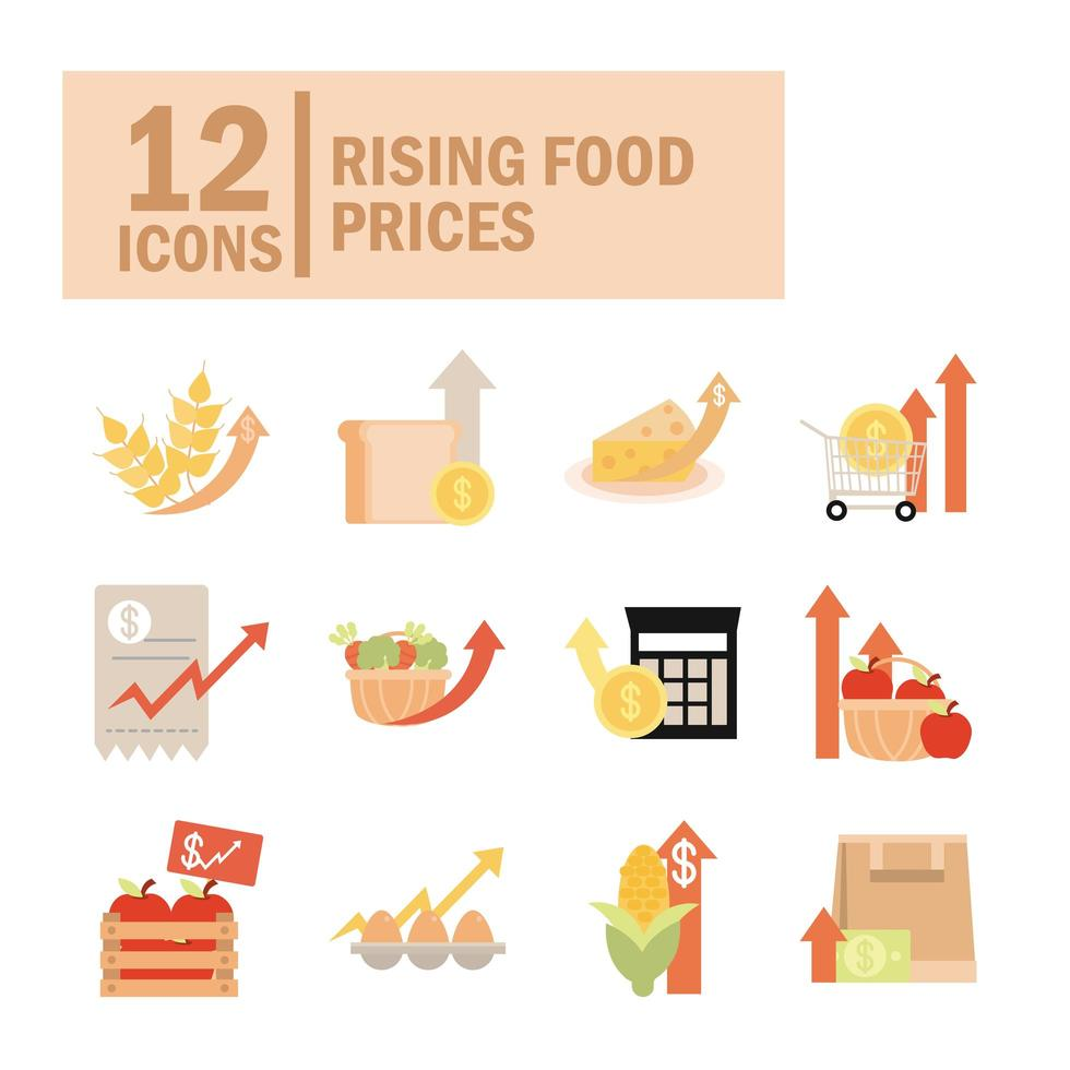 aumento de los precios de los alimentos conjunto de iconos comerciales vector