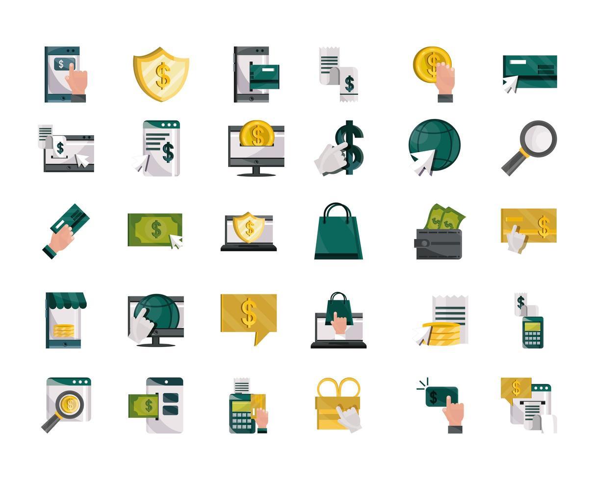 pago en línea y conjunto de iconos de estilo plano de finanzas vector