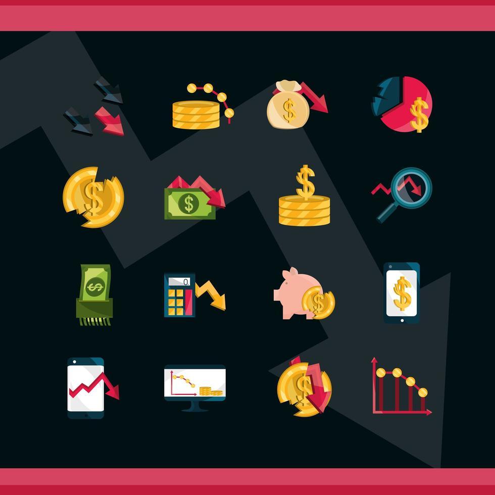 Stock market and economic crisis icon set on dark background vector