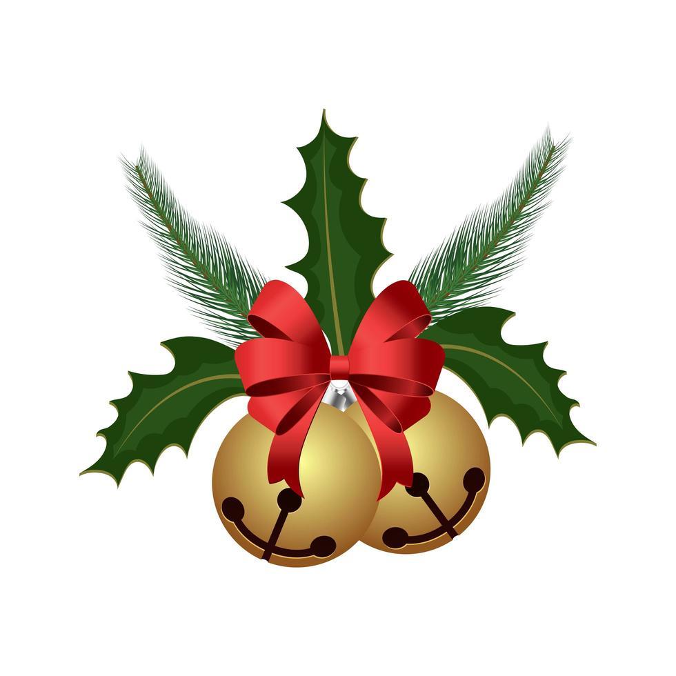 campana de navidad con cinta vector