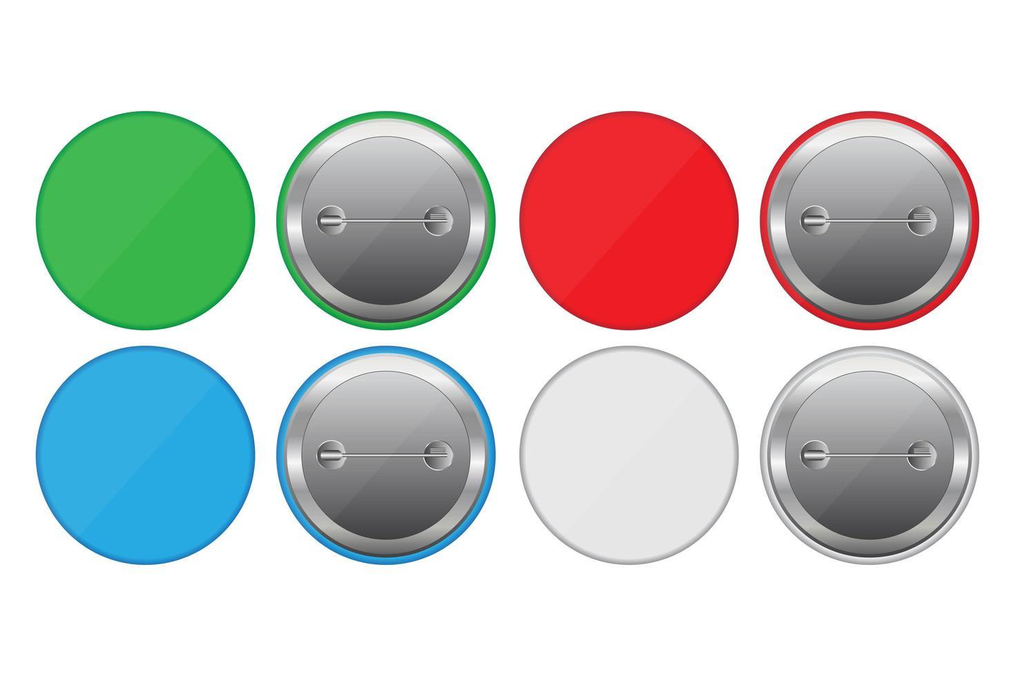 alfileres de botones de colores vector