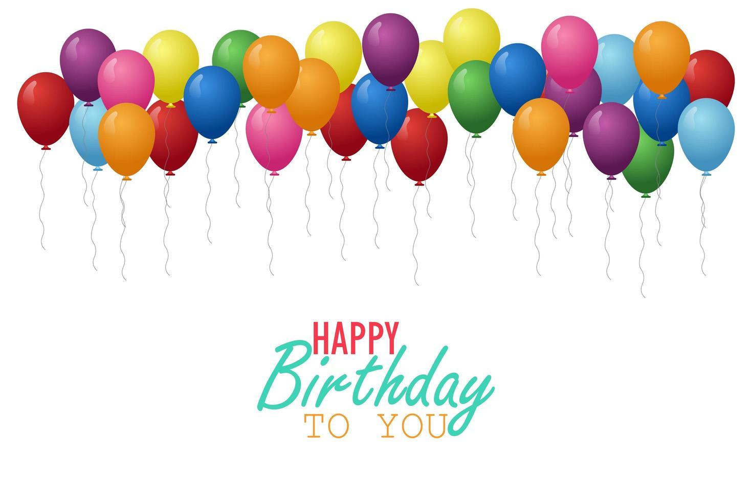 alguns balões coloridos de aniversário vetor