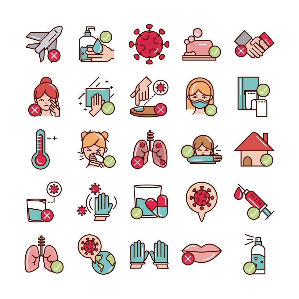 linha de prevenção covid-19 e preenchimento, conjunto de ícones coloridos vetor