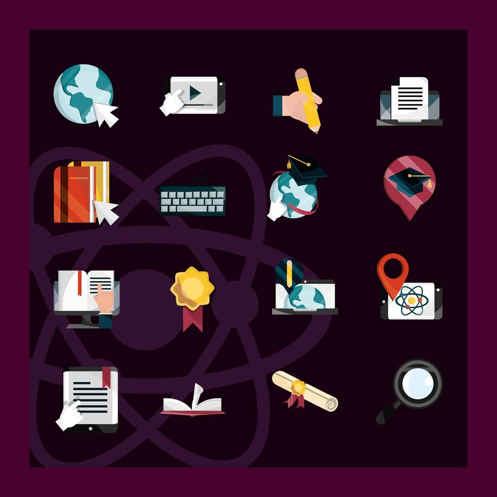 ícone de estilo simples de educação online em fundo escuro vetor