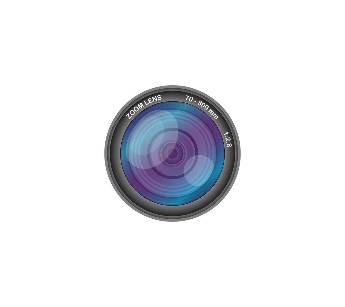 lente de cámara fotográfica 70-300 mm vector