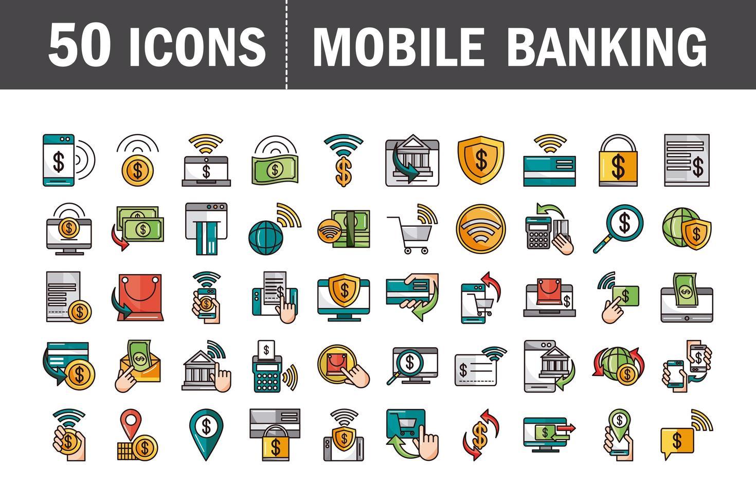 Banca móvil y línea de pago en línea y colección de iconos de relleno. vector