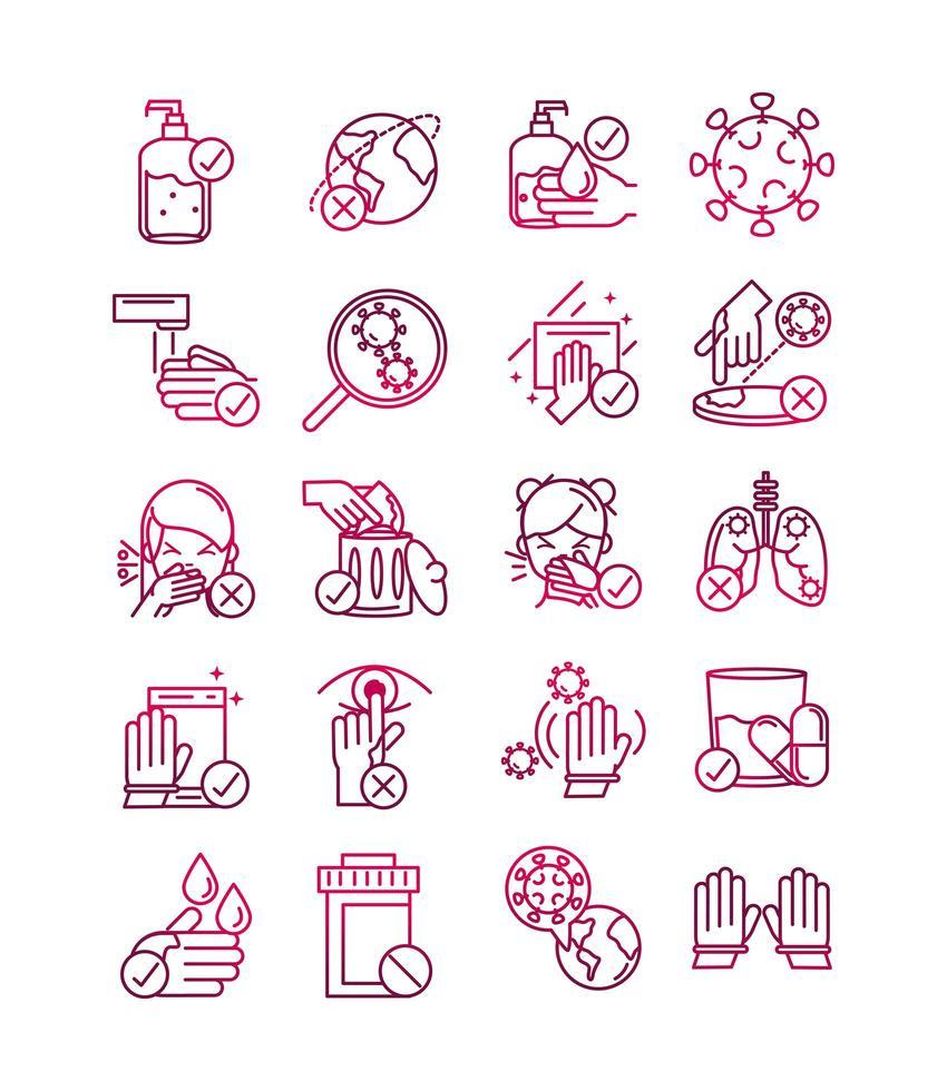 paquete de iconos de prevención de coronavirus en estilo degradado vector