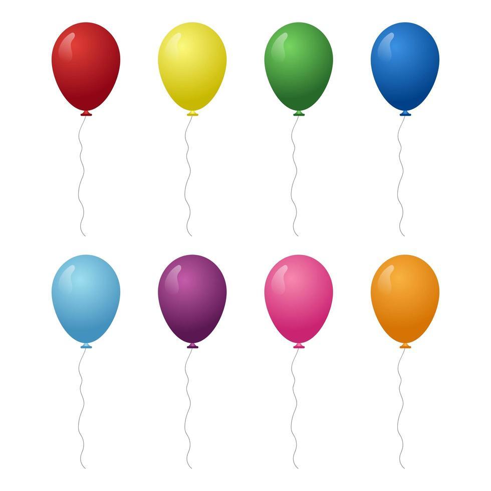 cumpleaños coloridos globos realistas vector