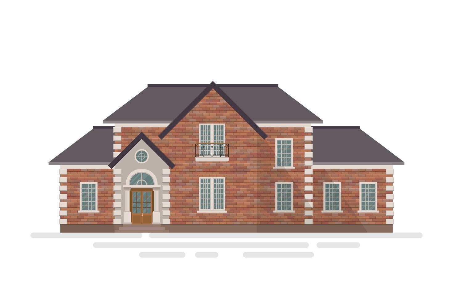 casa de tijolo suburbana isolada vetor