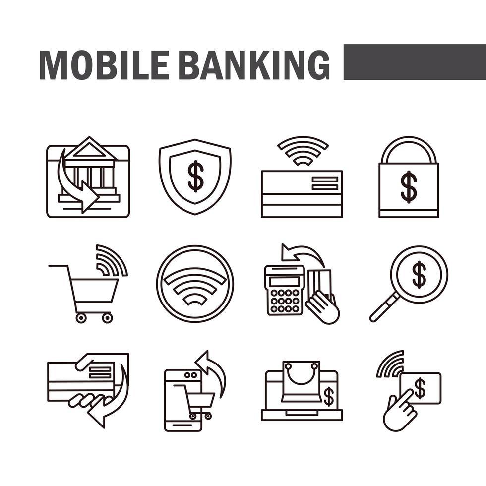 paquete de iconos de pictogramas de banca móvil y comercio electrónico vector