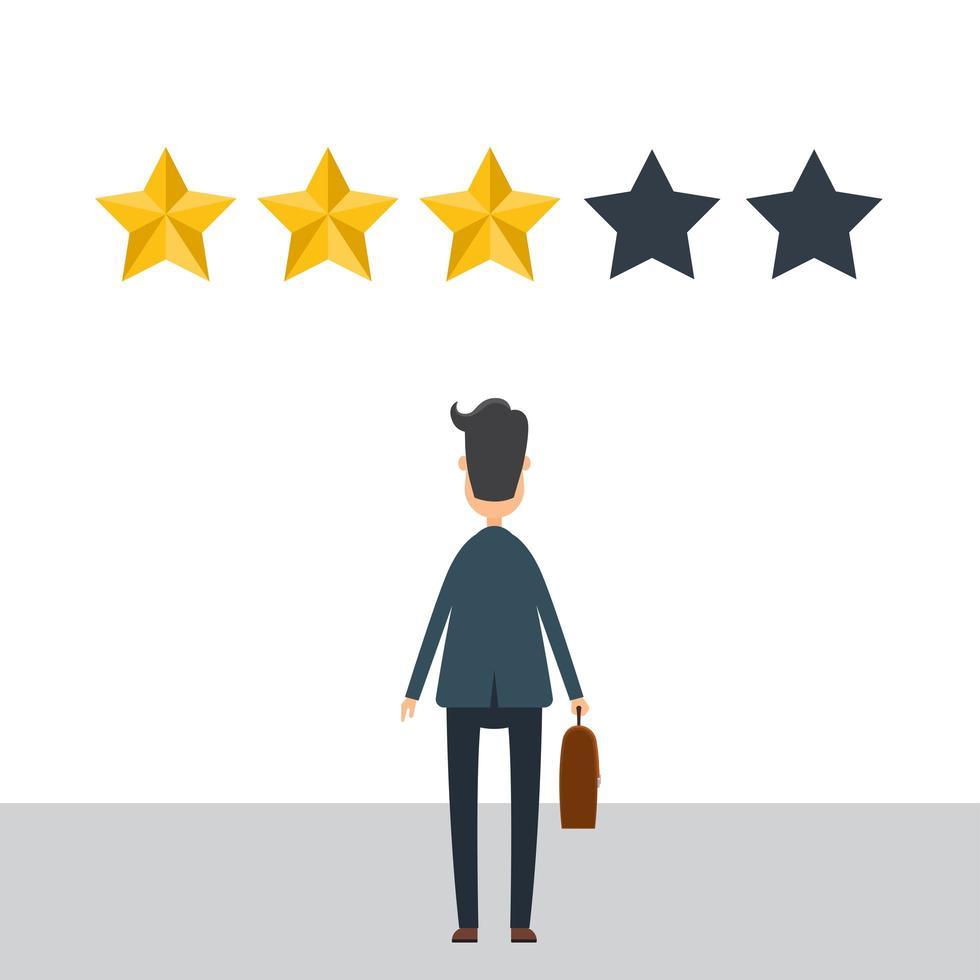 hombre de negocios en traje da una revisión de 3 estrellas. vector
