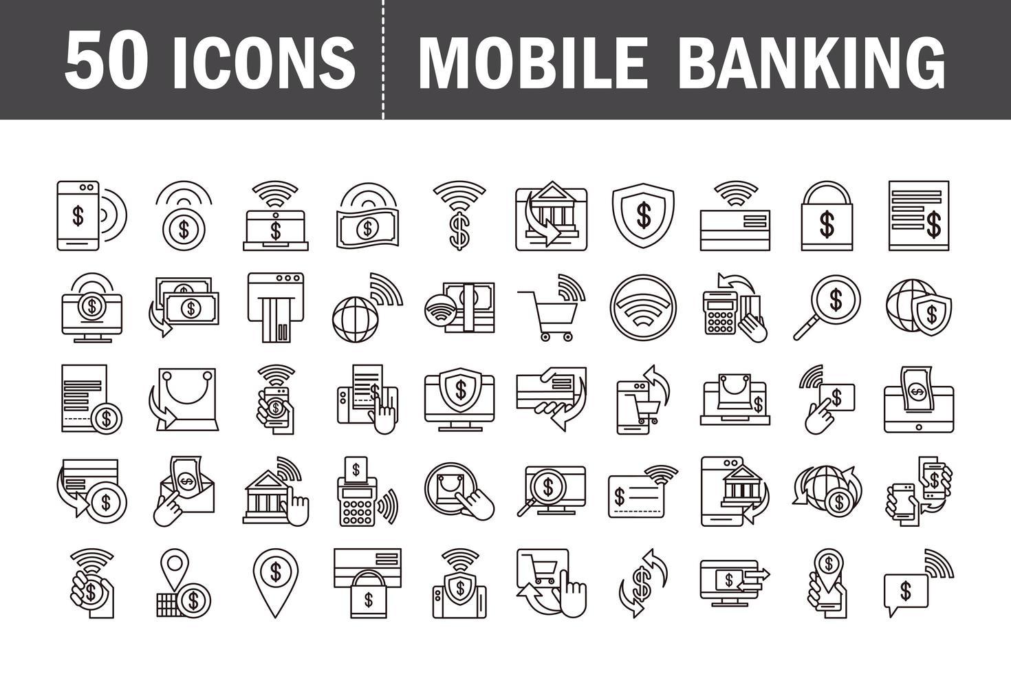 conjunto de ícones de pictograma de banco móvel e comércio eletrônico vetor