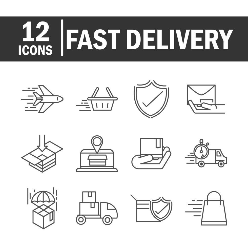 entrega expressa e coleção de ícone de pictograma de linha de logística vetor