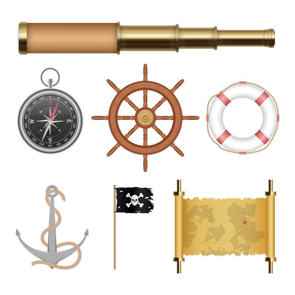 objetos piratas do mar isolados vetor