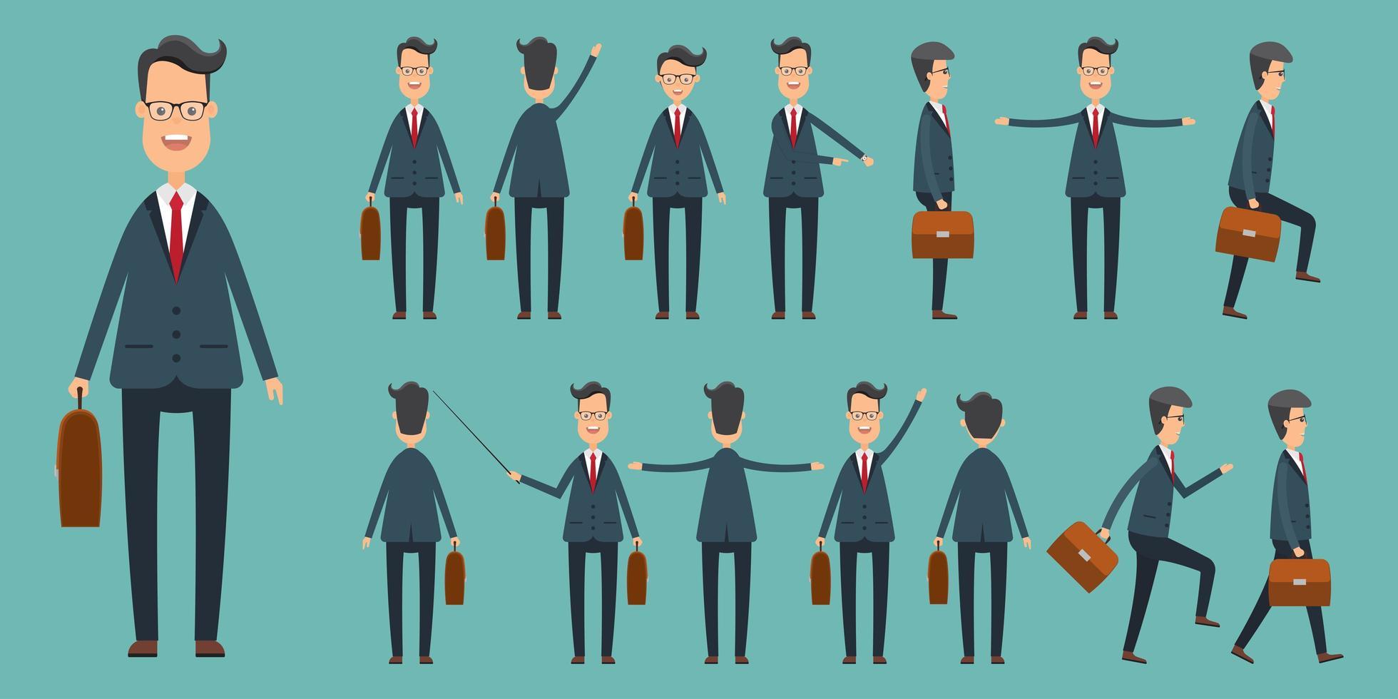 conjunto de empresários em diferentes posições vetor