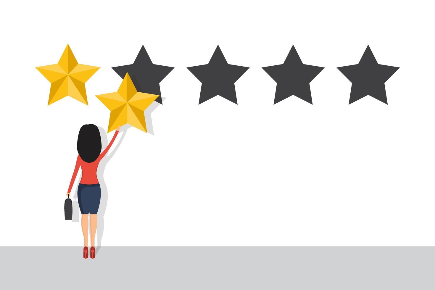 empresária dá uma avaliação de 2 estrelas. conceito de avaliação vetor