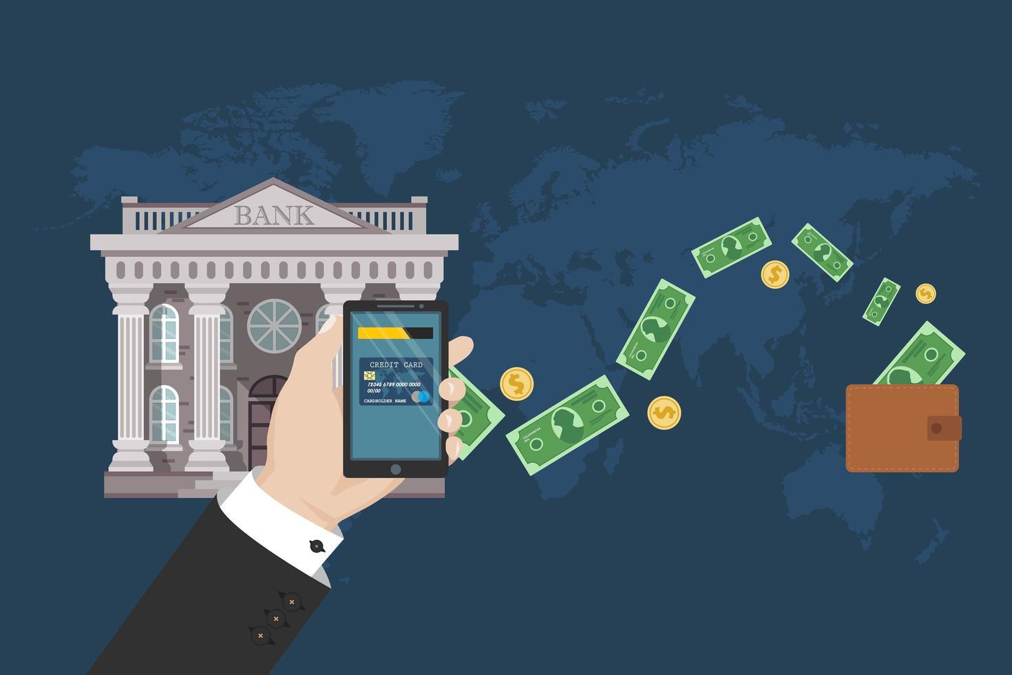 transferência bancária em design plano vetor