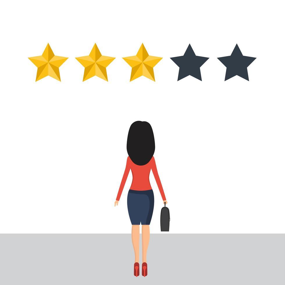 empresaria dar una revisión de 3 estrellas vector