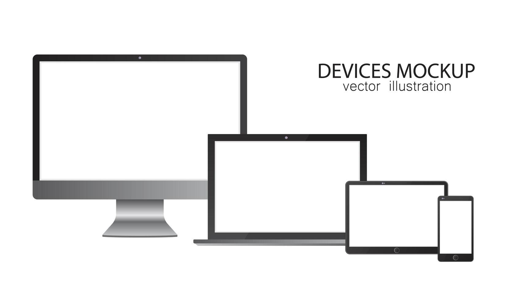 conjunto de monitor, tablet, laptop, smartphone vetor