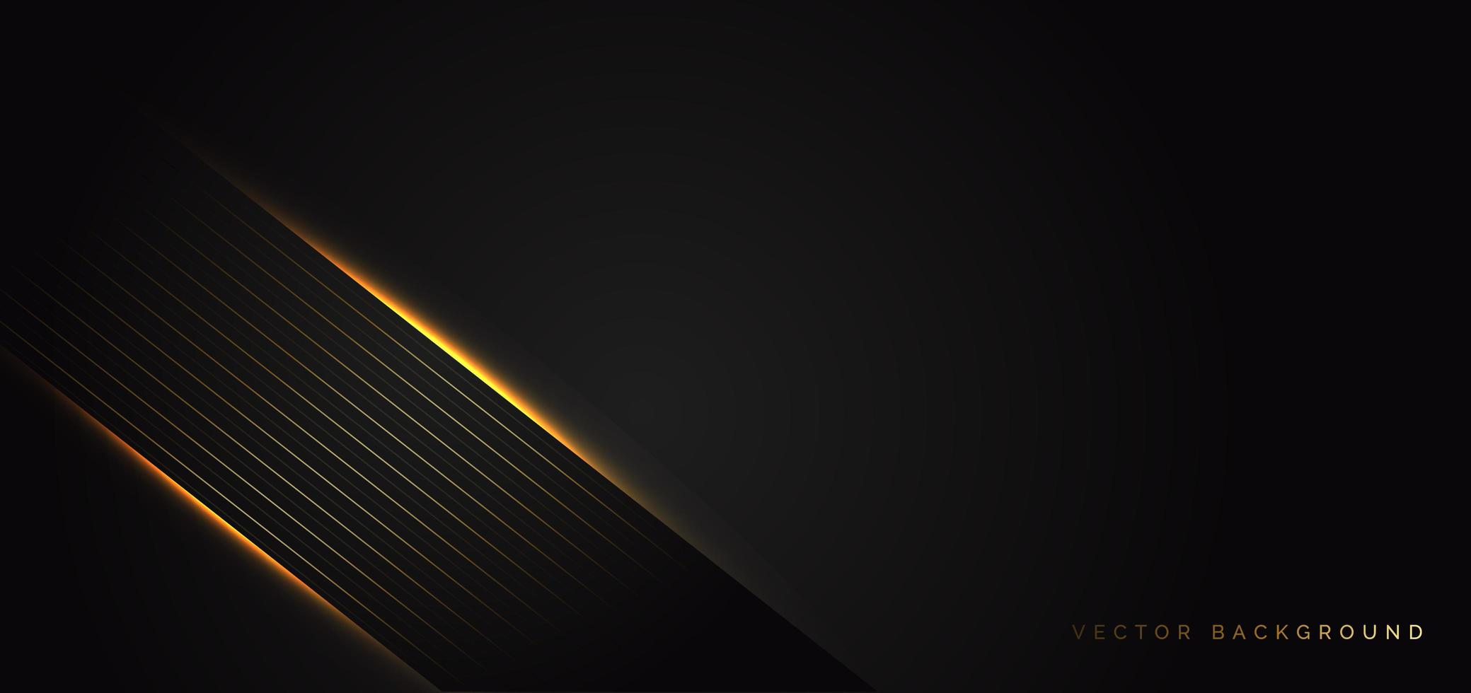 Dark banner with golden light detail in a luxury style background vector