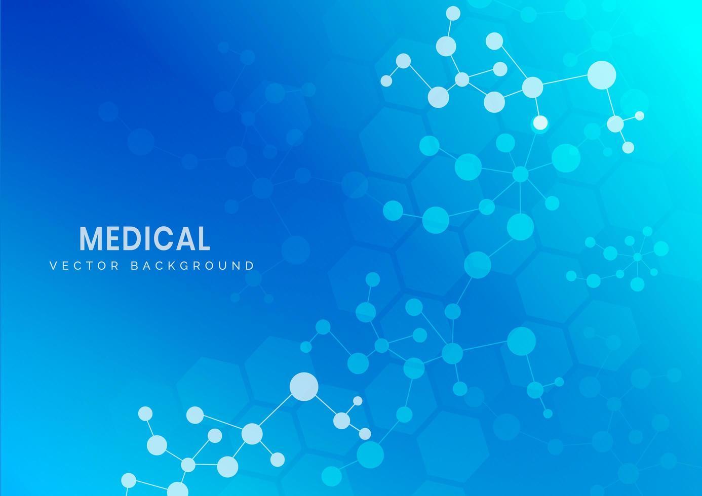 estrutura molecular médica e científica sobre fundo azul vetor