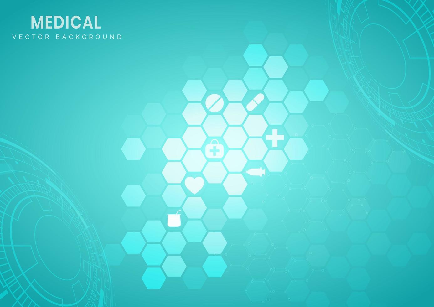 hexágono estrutura tecnológica turquesa de fundo vetor