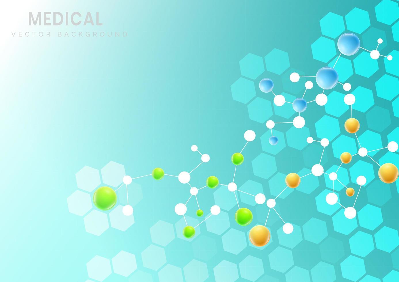 fundo de padrão de estrutura de hexágono molecular vetor